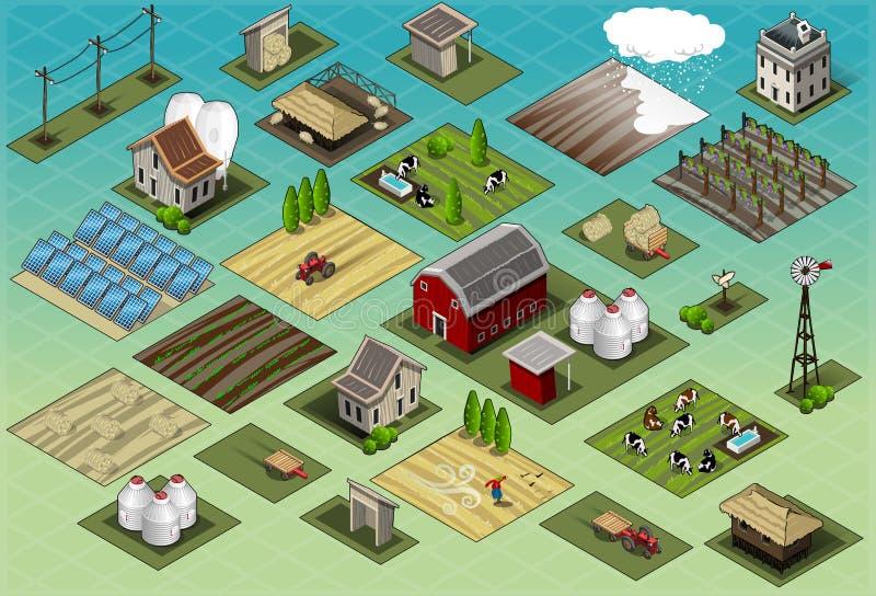 Isometrischer Bauernhof-gesetzte Fliesen stock abbildung
