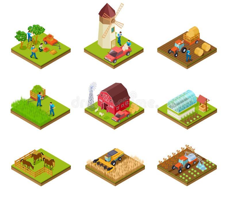 Isometrischer Bauernhof Landwirttraktorlastwagen und -erntemaschine Viehbestand und landwirtschaftliche Grünpflanzen Vektorsatz d stock abbildung