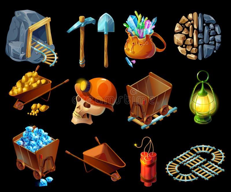 Isometrischer Bergbau-Spiel Elemens-Satz lizenzfreie abbildung
