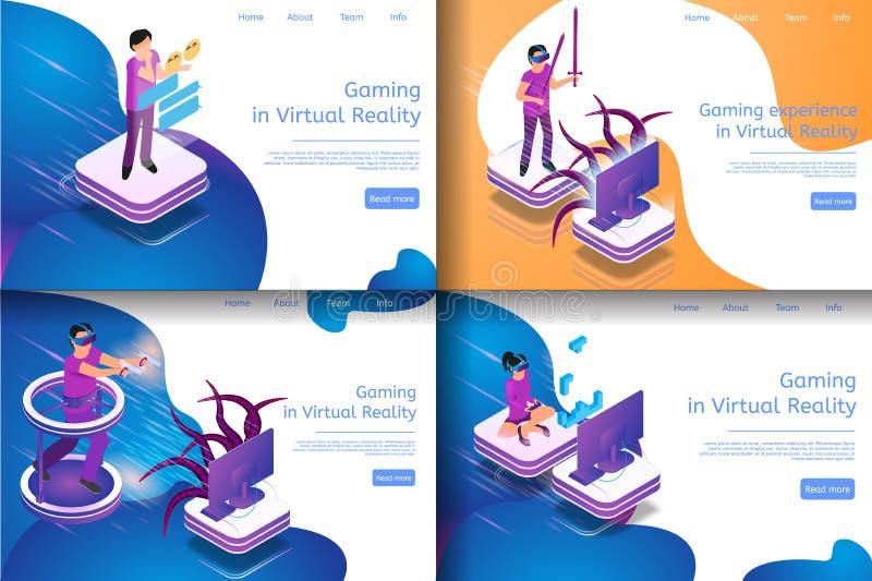 Isometrischer Bild-Prozess-virtuelles Spiel-In Verbindung stehen vektor abbildung