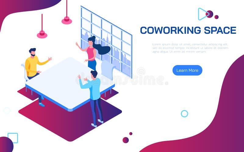 Isometrischer coworking Raum Die Leute, die Ideen für Unternehmensplan im Co-Funktionsraum besprechen, teilten Arbeitsbereich lizenzfreie abbildung