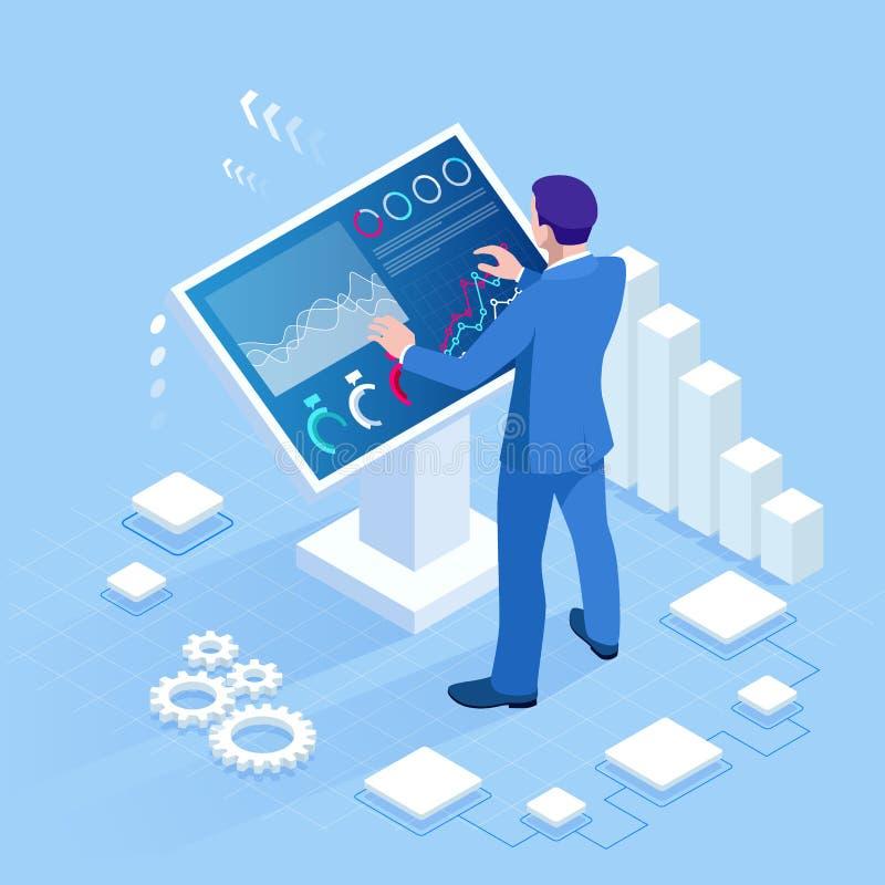 Isometrischer digitaler Monitor mit infographics Männliche Stellung an der großen Anzeige Konzept der Geschäftsunterstützung vektor abbildung