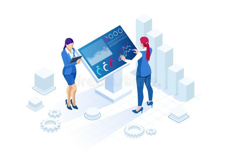 Isometrischer digitaler Monitor mit infographics Weibliche Stellung an der großen Anzeige Konzept der Geschäftsunterstützung lizenzfreie abbildung