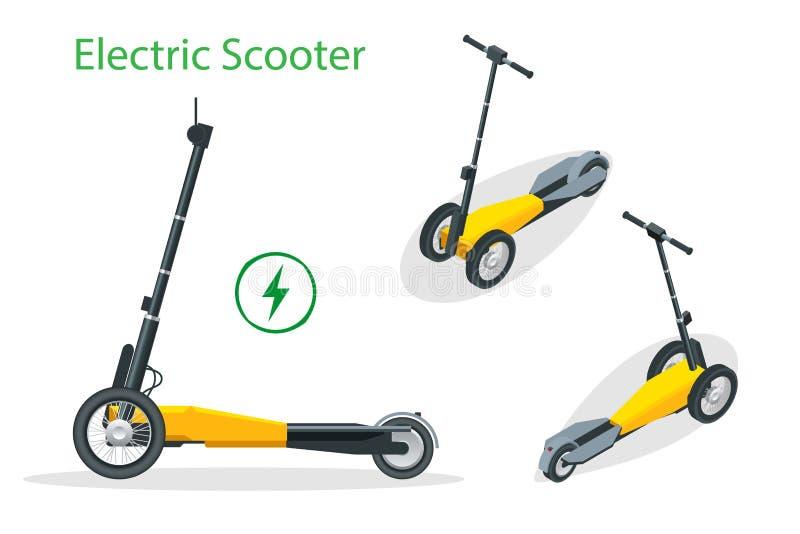 Isometrischer elektrischer Roller auf der Stra?e Elektrischer Rollertransport, den Sie f?r eine schnelle Fahrt mieten k?nnen vektor abbildung