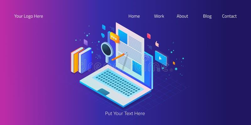Isometrischer Entwurf, Netzfahnenschablone des zufriedenen Marketings, bloggend, Social Media-Verpflichtung, seo Schreiben mit Te stock abbildung