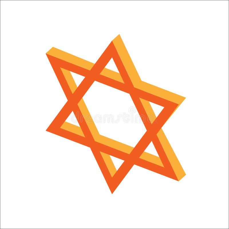Isometrischer flacher Chanukka-Davidsstern, jüdische Feiertagsikone Illustration des Elements für Chanukka herein lizenzfreie abbildung