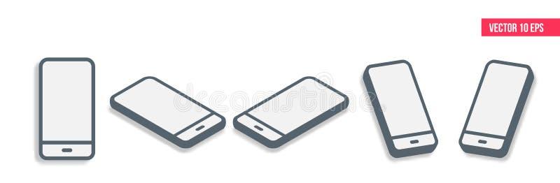 Isometrischer flacher Entwurf Smartphones 3d Handy, tragbares Gerät Moderne Technologien der Kommunikation und des Managements lizenzfreie abbildung