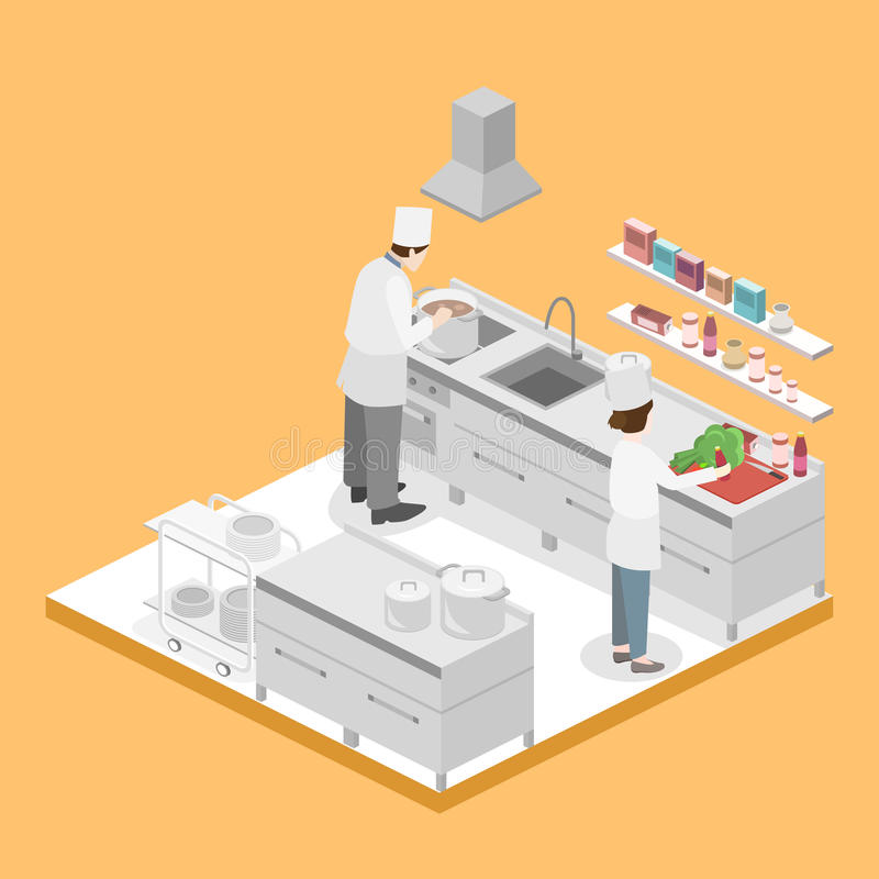 Isometrischer flacher Innenraum 3D der Berufsküche stock abbildung