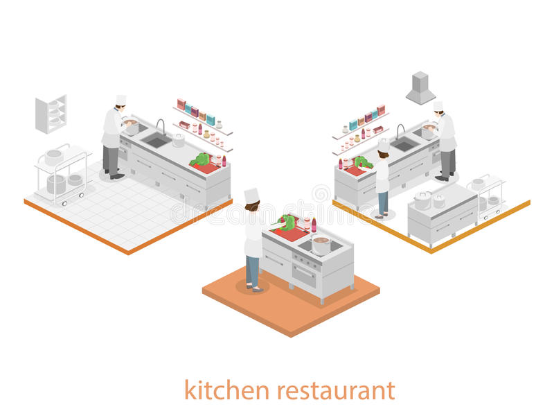 Isometrischer flacher Innenraum 3D der Berufsrestaurantküche stock abbildung