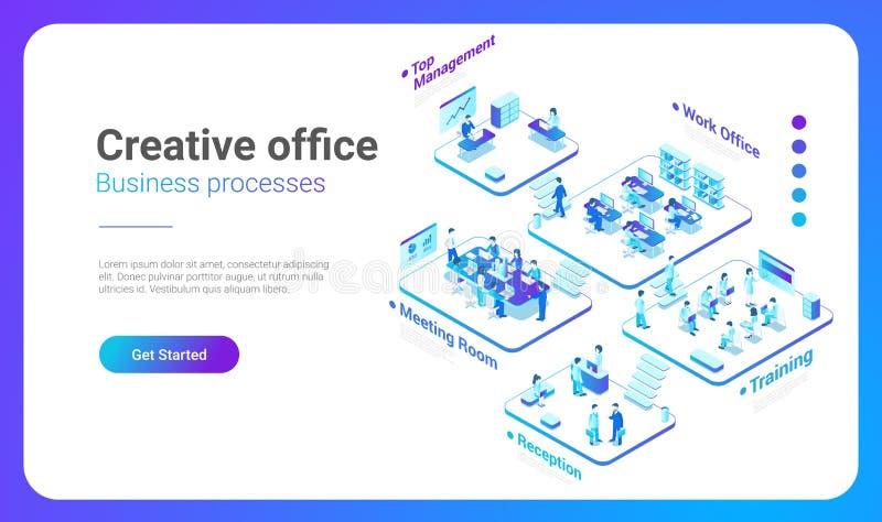 Isometrischer flacher Leute-Bürovektor Management Te vektor abbildung
