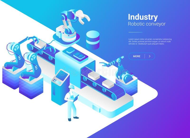 Isometrischer flacher Robotik-Fabrik-Förderervektor r lizenzfreie abbildung