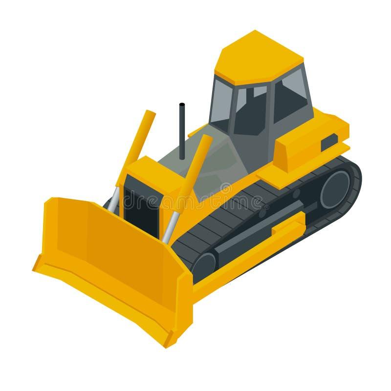 Isometrischer gelber Planierraupenbagger, lokalisiert auf weißem Hintergrund Vektorillustrations-Planierraupenikone stock abbildung