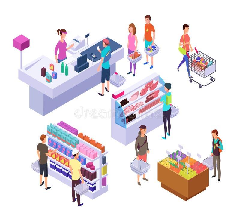 Isometrischer Gemischtwarenladen Innenraum des Supermarktes 3d mit Einkaufsleutekunden und -produkten Kleinvektorsatz lizenzfreie abbildung