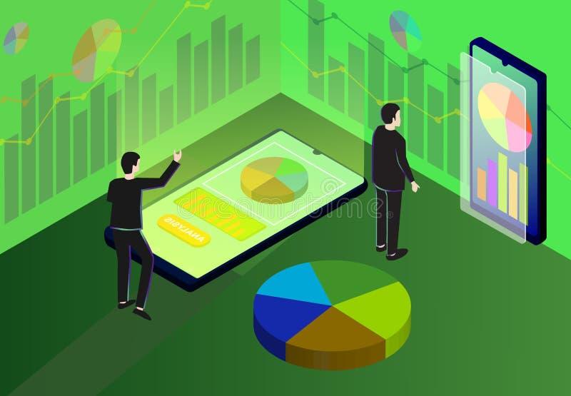 Isometrischer Geschäft Analytics, Marktanalyse, Strategie und Planung lizenzfreie abbildung