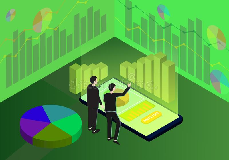 Isometrischer Geschäft Analytics, Marktanalyse, Strategie und Planung vektor abbildung