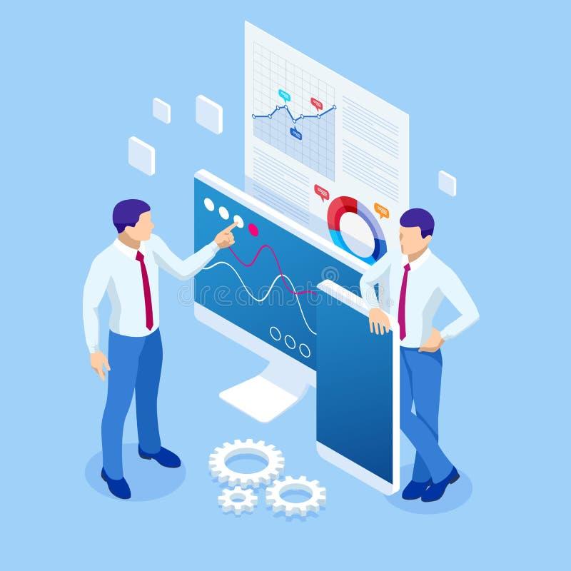 Isometrischer Geschäft Analytics und Finanztechnologie, Datensichtbarmachungskonzept Geschäft Analyticstechnologie unter Verwendu stock abbildung