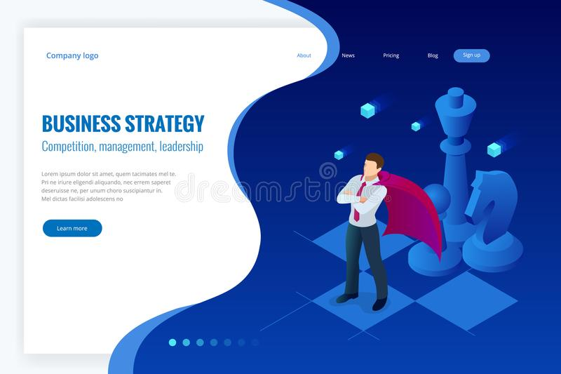 Isometrischer Geschäftsmann, der auf Schachbrett steht Strategie, Management, Führungskonzept Der Fokus ist nur auf der WortGesch lizenzfreie abbildung