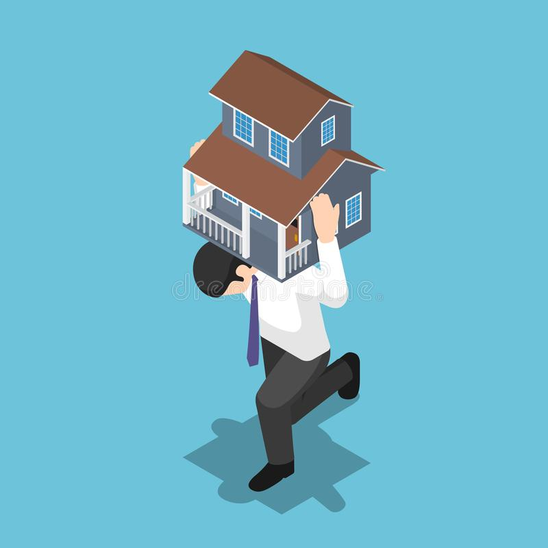 Isometrischer Geschäftsmann, der ein Haus auf seinem zurückbringt lizenzfreie abbildung
