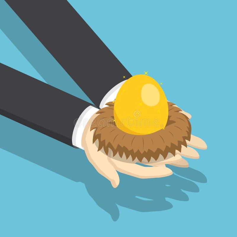Isometrischer Geschäftsmann, der Nest mit goldenem Ei hält vektor abbildung