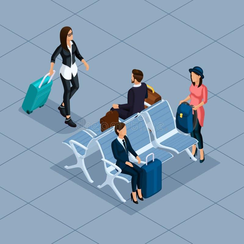 Isometrischer Geschäftsmann des Vektors 3D der modischen Leute, Geschäftsfrau, junge Frau, am Flughafen, Warteraum, Geschäfte, Ge vektor abbildung