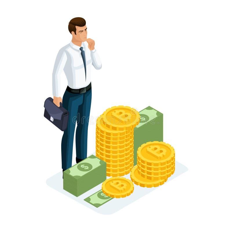 Isometrischer Geschäftsmann steht nahe bei einem großen Stapel des Geldes und kennt nicht was, mit ihnen zu tun Vektorillustratio stock abbildung