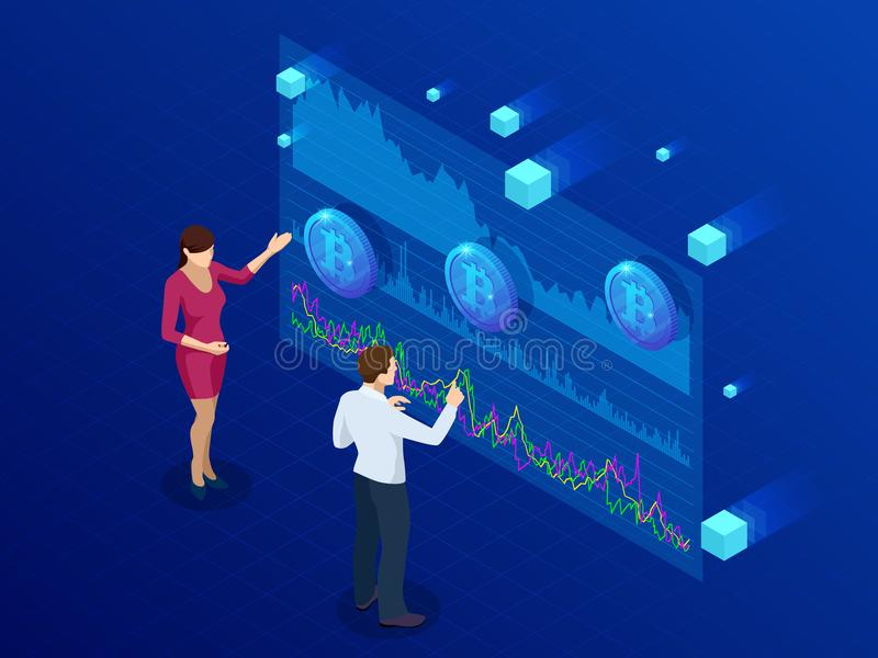 Isometrischer Geschäftsmann und Geschäftsfrau, die ein Bitcoin-Analytik, Intelligenzarmaturenbrett, Operationen Bitcoin-Daten ana stock abbildung