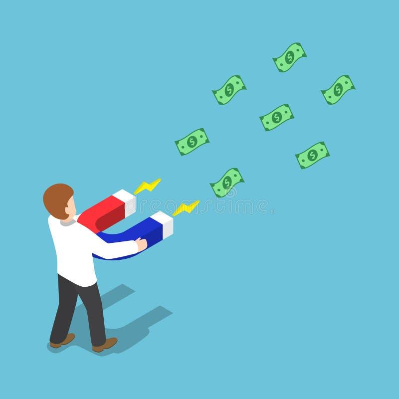 Isometrischer Geschäftsmann ziehen Geld mit einem großen Hufeisen-magne an lizenzfreie abbildung
