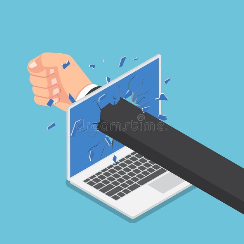 Isometrischer Geschäftsmannhandlocher durch Laptopmonitor vektor abbildung