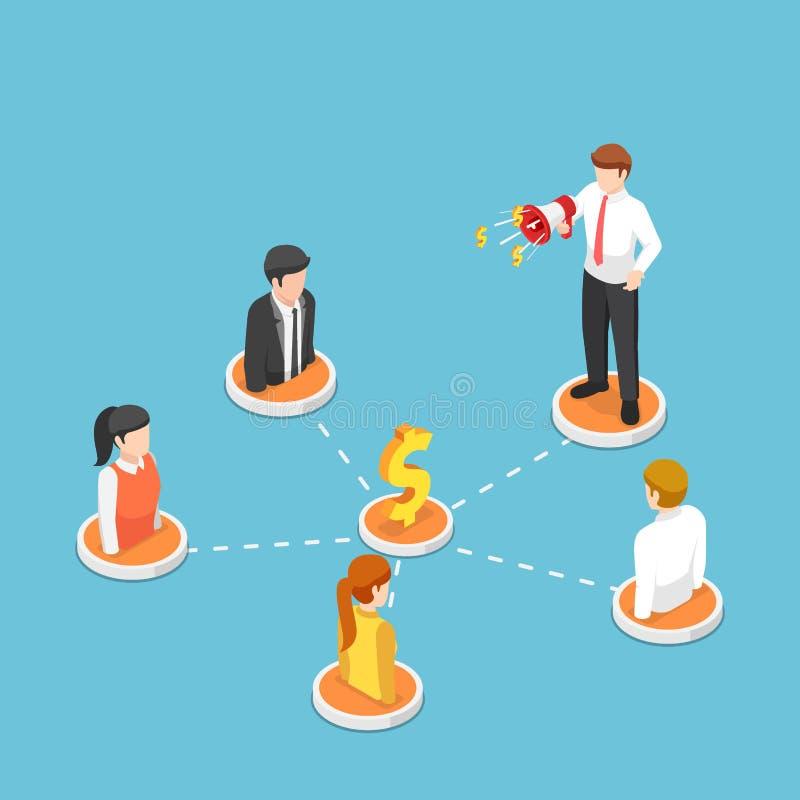 Isometrischer Geschäftsmannruf auf Megaphon mit Leuten im Empfehlungsmarketing-Netz lizenzfreie abbildung