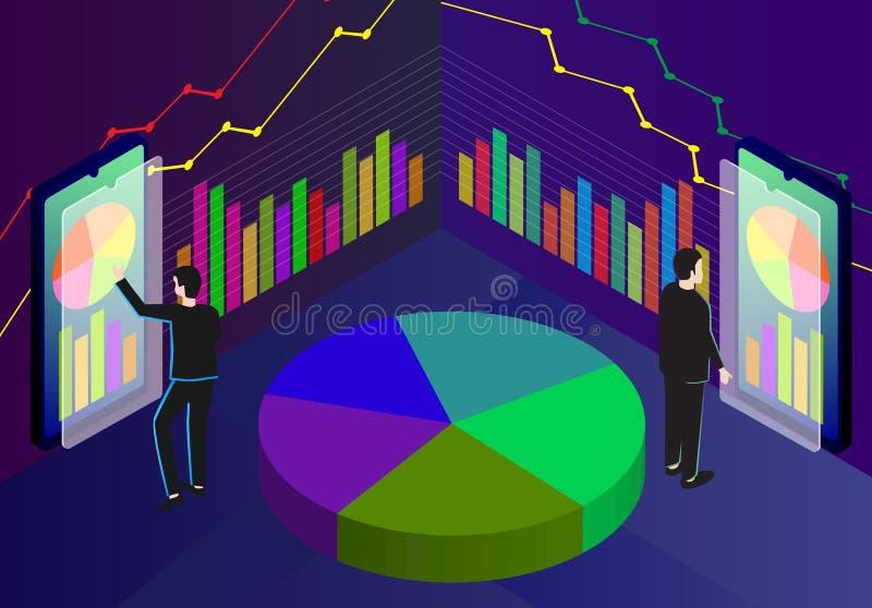 Isometrischer Gesch?ft Analytics, Marktanalyse, Strategie und Planung stock abbildung
