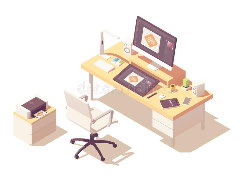 Isometrischer Grafikdesignerarbeitsplatz des Vektors lizenzfreie abbildung