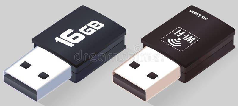 Isometrischer greller Antrieb USBs Wi-Fiadapter Realistische USB-Sticks Grelle Scheibe Geöffnete Memorysticks lokalisiert auf gra lizenzfreie abbildung