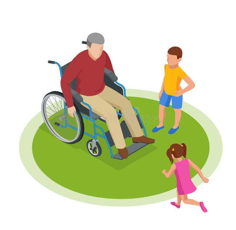 Isometrischer Großvater geht mit Enkelkindern auf die Straße Glückliches Konzept für Familie und Kindheit vektor abbildung