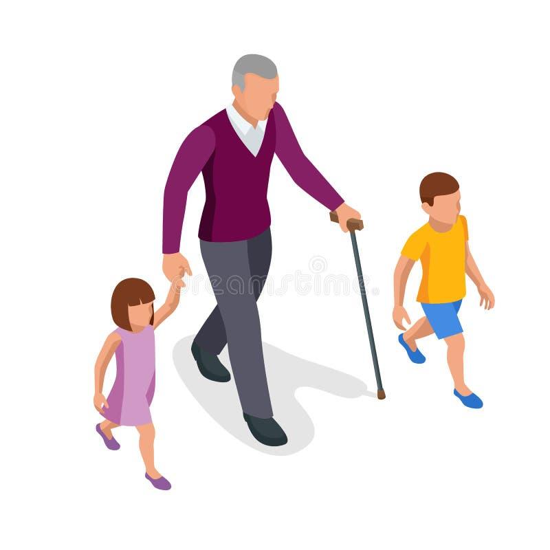 Isometrischer Großvater geht mit Enkelkindern auf die Straße Glückliches Konzept für Familie und Kindheit lizenzfreie abbildung