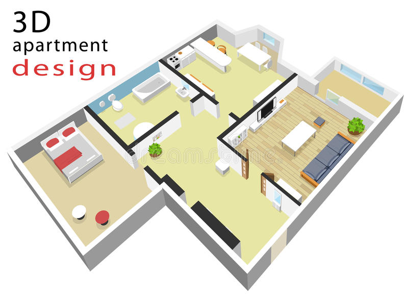 isometrischer Grundriss 3d für Wohnung Vektorillustration des modernen isometrischen Innenraums stock abbildung