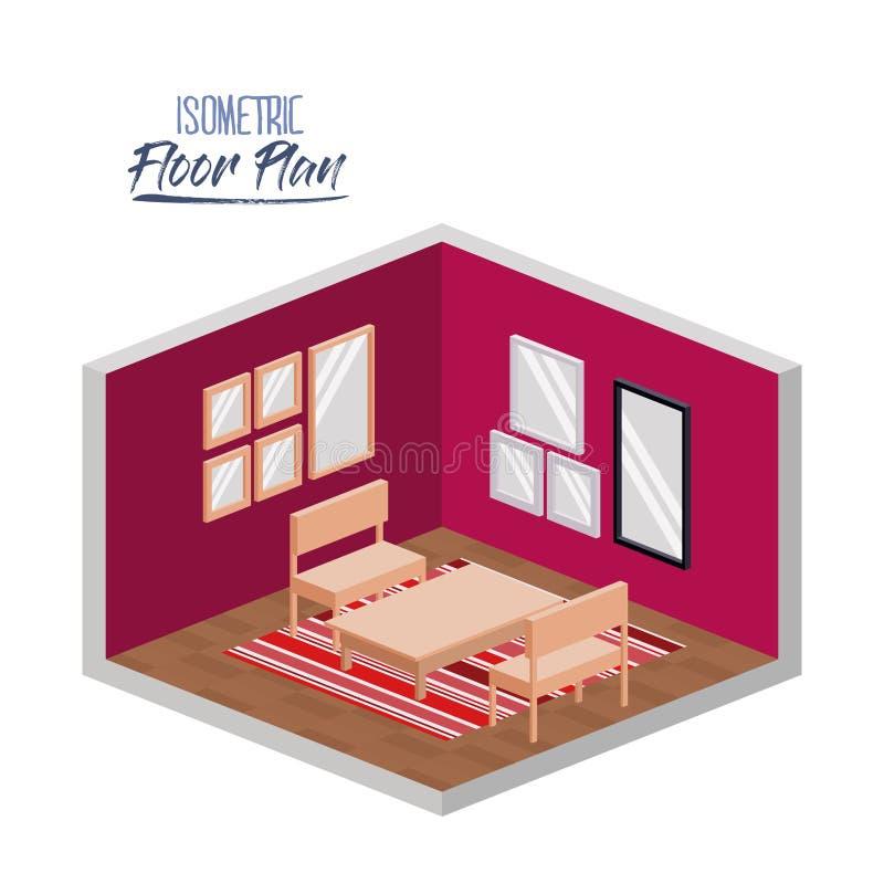 Isometrischer Grundriss des Wohnzimmers mit Teppich und Holzmöbel im bunten Schattenbild lizenzfreie abbildung