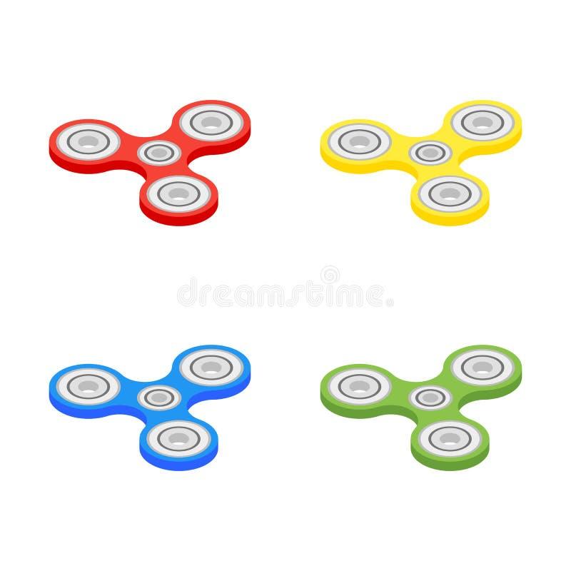 Isometrischer Handspinner lokalisiert auf weißem Hintergrund Spinnerunruhe-Spielzeugikone des Vektors dreifache stock abbildung
