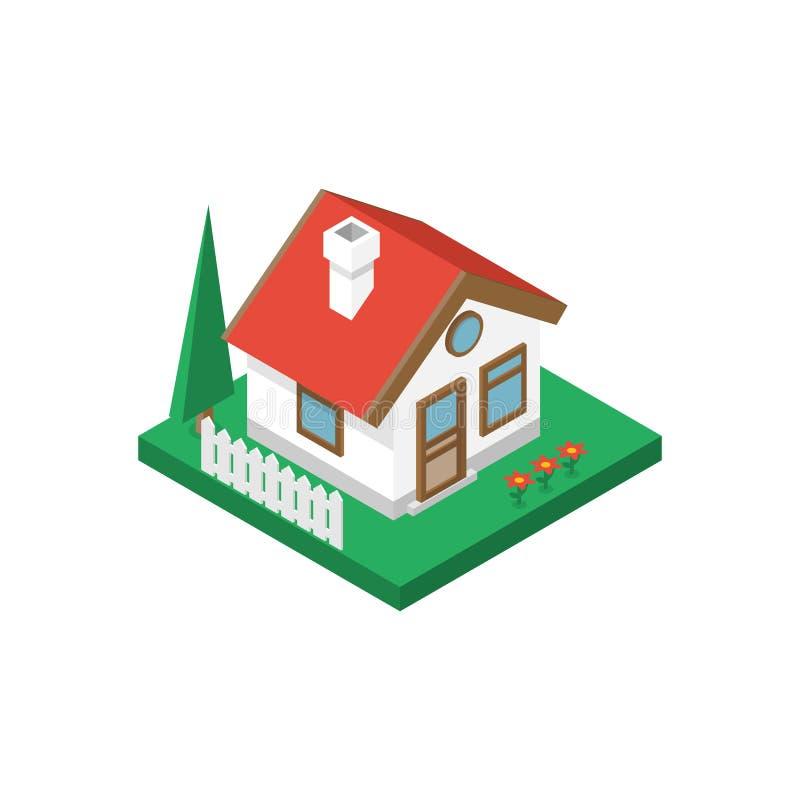 Isometrischer Hausvektor stock abbildung