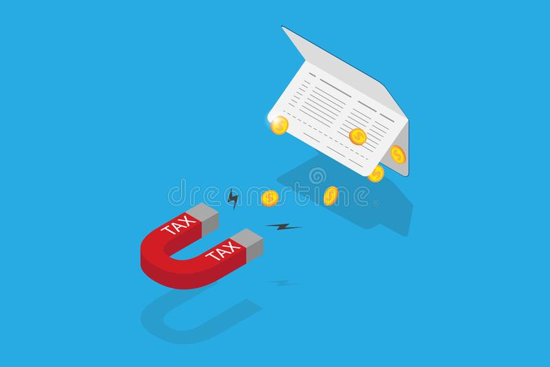 Isometrischer Hufeisenmagnet, der Münzen vom Bankbuch, von der Steuer und vom Geschäftskonzept anzieht lizenzfreie stockfotografie