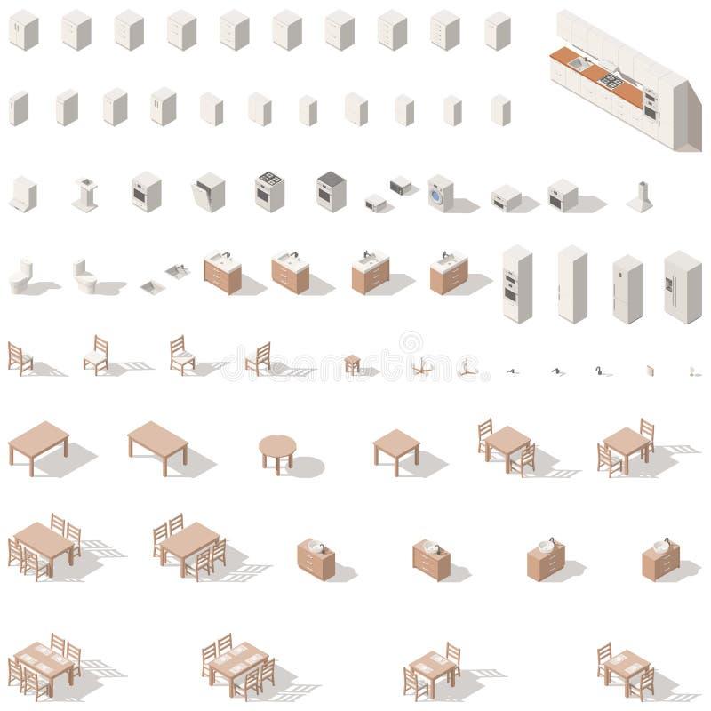 Isometrischer Ikonenpolysatz der Küche und des Badezimmers niedrig lizenzfreie abbildung