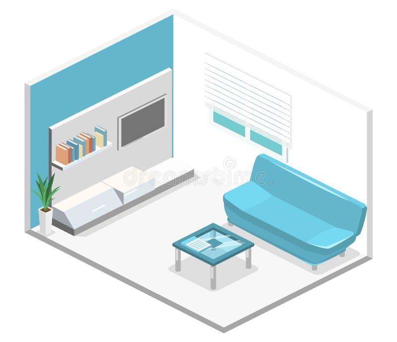 Isometrischer Innenraum des modernen Wohnzimmers Flache Illustration 3d vektor abbildung