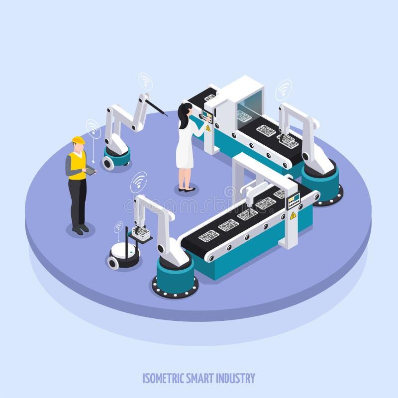 Isometrischer intelligenter Industrie-Hintergrund stock abbildung