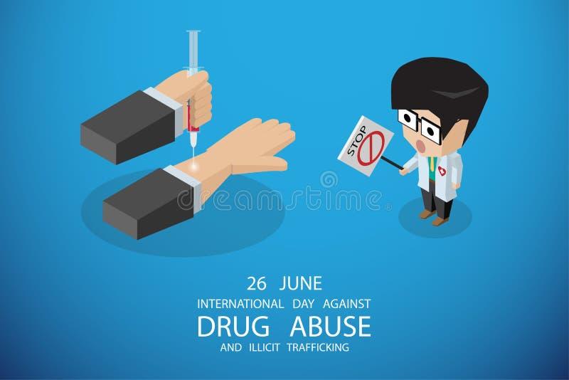 Isometrischer internationaler Tag gegen Drogenmissbrauch und das unerlaubte Handeln, Vektorillustration stockbilder