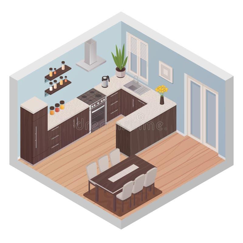 Isometrischer Küchen-Innenraum mit dem Kochen und dem Speisen von Zonen vektor abbildung