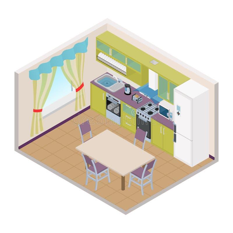 Isometrischer Kücheninnenraum des Vektors - Illustration 3D vektor abbildung