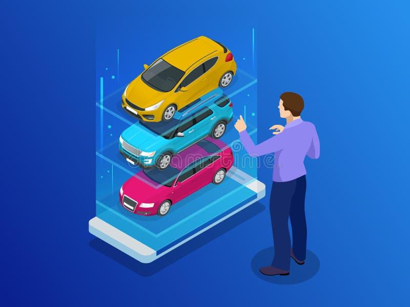 Isometrischer Kauf ein Auto oder eine Miete eine Autoon-line-Design-Netzfahne Gebrauchtwagen-APP-Vektorillustration stock abbildung