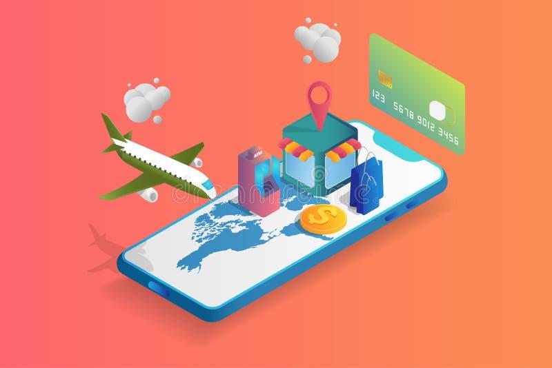 Isometrischer on-line-Markt 3D auf Mobile oder Smartphone Moderne Geldtransaktionen und Geschäft, die die Nachfrage leicht und qu vektor abbildung
