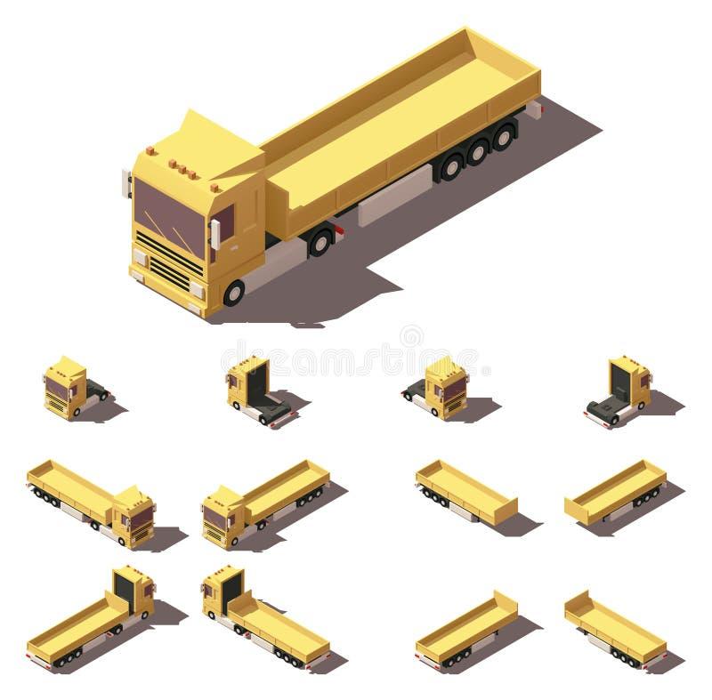 Isometrischer LKW des Vektors mit Frachtsattelschlepper-Ikonensatz stock abbildung