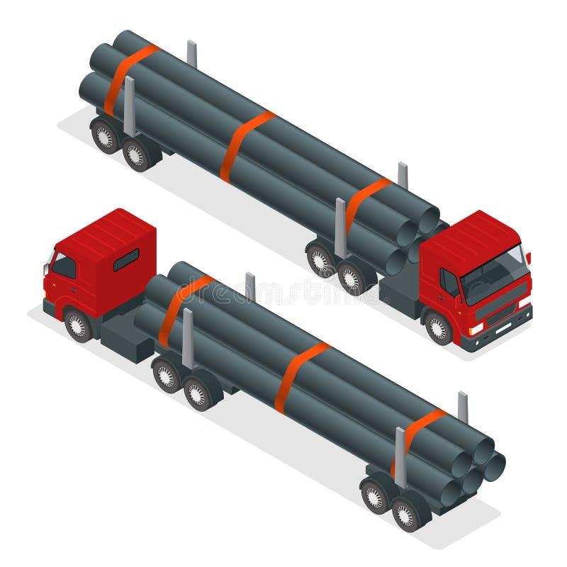 Isometrischer LKW-Traktor mit dem Flachbettauflieger, der Rohr schleppt Infographic Element des Vektors vektor abbildung