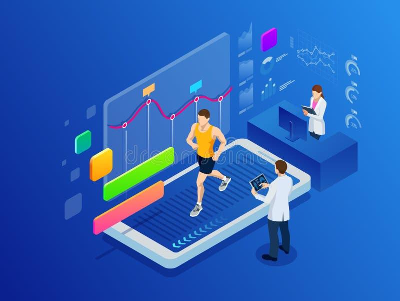 Isometrischer Mann, der auf einer Smartphonetretmühle läuft und Eignungs-APP und Sport unter Aufsicht Doktoren ausübt stock abbildung